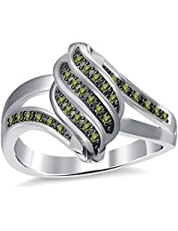 Silvernshine 2.35Ctw Green Garnet CZ Diamonds 3Row Twisted Women's Fashion Ring 10K White Gold PL