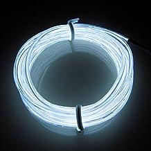 Lerway 5m Flessibile EL Wire Neon LED Elettroluminescente Luce + Controllo della Batteria, per Party Halloween Bar Club, Casa Cucina Giardino Camera Decorazione, Caffè Ristorante (bianco)