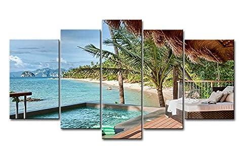 5pièces mur Art Peinture Island Resort de Palawan Philippines honse paume piscine sur la photo sur toile x Plage Paysage marin Photos huile pour Home Decor imprimé moderne Décoration pour chambre