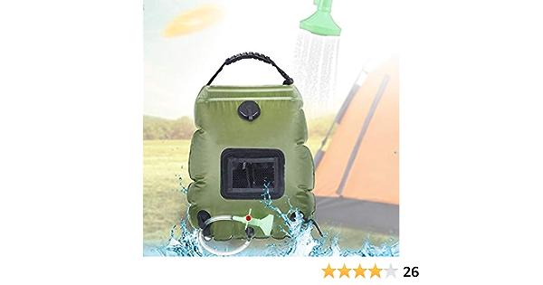 Douches solaires Camping Propuls/é Solaire 20L TPU Portable Sac avec Tuyau Amovible Long et Pression Pompe Buse de Affichage de la Thermom/ètre Pliable L/éger Randonn/ée en Plein Air Escalade Sac de Bain