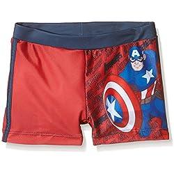 Avengers Boxer Capitan America, Bañador para Niños, Rojo, T04 años