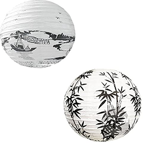[Bamboo&Boat]Set of 2 Painted Home Decor--Lampshade,Chinese Lantern