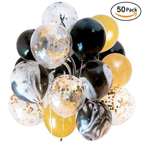 Ohighing 50 Stück Luftballons Schwarz Gold Ballons mit Gold Konfetti Luftballon für Damen Herren Geburtstag Abschluss Halloween Party Deko (ca.30cm) (Nach Halloween Geburtstag Party)