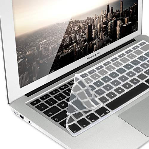 kwmobile Tastaturschutz für Apple MacBook Air 13''/ Pro Retina 13''/ 15'' (bis Mitte 2016) - QWERTZ Silikon Laptop Abdeckung Schwarz Grau - 13 Silikon Pro Tastatur Macbook Aus