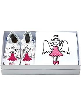 Inch Blue–Set de regalo de las niñas niños zapatos de bebé de cuero & Body de algodón bordado–Ángel Blanco...