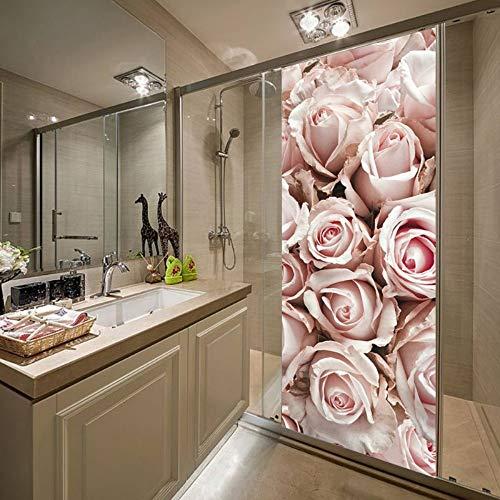 3D Tür Aufkleber Kunst Wandbild Rosa Rose Selbstklebende Wandtattoo (77X200Cm) Für Beauty Salon Studio Friseur Friseursalon Dekoration (Studio Dekoration)