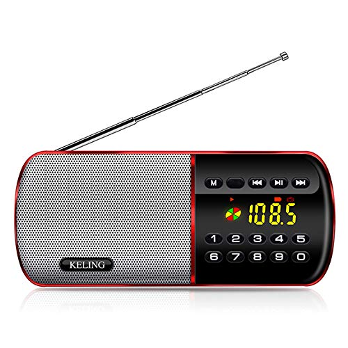 PLAIPH FM Radio, Radio Portable AM FM Radio, Full-Band Radio FM Radio Portable Student Four Or Six English Listening Test Dedicated Portable Music Playback, with Backlight 12/24H Time Display,Red