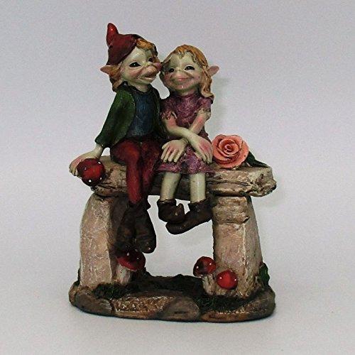 Pixies-Statuetta Coppia Elfi Su Panchina di pietra