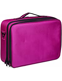 Rose Red : Cosmetic Bag Portable Clothing 3 Layer Multifunction Makeup Bag Rose Red Artist Beauty Cosmetic Kit...