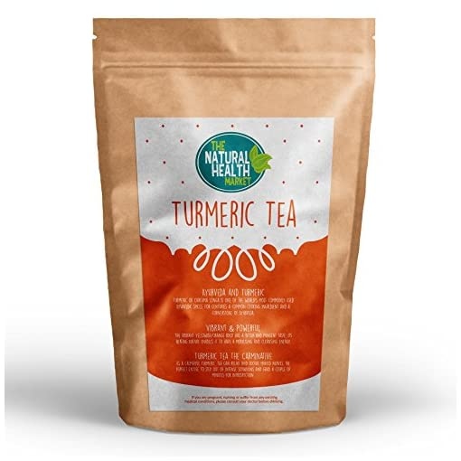 Natural Turmeric Tea Bags By The Natural Health Market • 100% Turmeric Root • Curcuma Longa • Made With Unbleached Tea Bag Paper • Natural Herbal Tea