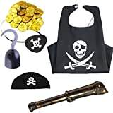 Pirate Accessories Set (Arm Hook, Blindfold, Pirate Telescope Prop, Headgear, Pirate Cape And Five Gold Coins) | Pirate Theme Party | Pirate Theme B'day Party | Pirate Costume | Pirate Getup | Party Shop | Theif Costume | Robber Costume