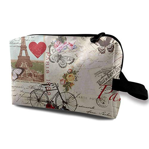 Vintage Tour Eiffel Paris Travel Storage Bag Makeup Cosmetic Bag Pouch Plum-zebra