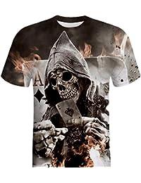 Camisetas Calaveras con Estampado De 3D Hombre LHWY e13a3fc1d0291