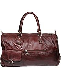 MOZRI 21 Inch Pure Brown Leather Trolley Bag,