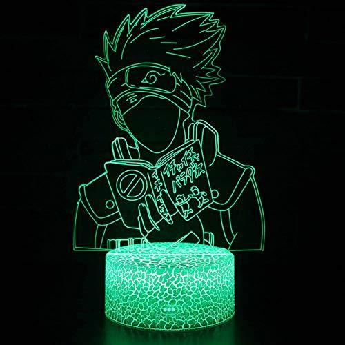 ALTcompluser 3D Optical Illusion LED Nachtlicht Lampe, Anime Naruto Nachttischlampe Touch Dimmbar 7-Farben ändern Schreibtischlampe mit USB-Kabel für Kinderzimmer/Wohnzimmer(Hatake Kakashi - 1) (Ps3 Gelbes Licht)