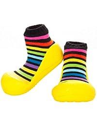 Attipas Newborn 3-40 months Baby Boys Girls First Walking Soft Sole Prewalker Socks cum Shoes Cozie Fleece Booties, Yellow