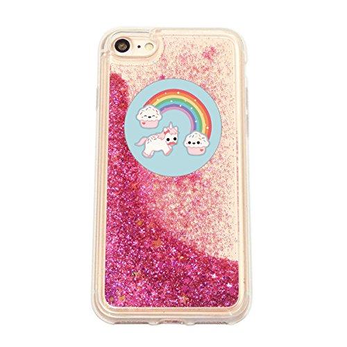 finoo | iPhone 6 / 6S Flüssige Liquid Pinke Glitzer Bling Bling Handy-Hülle | Rundum Silikon Schutz-hülle + Muster | Weicher TPU Bumper Case Cover | Einhorn Katze Einhorn Kreis