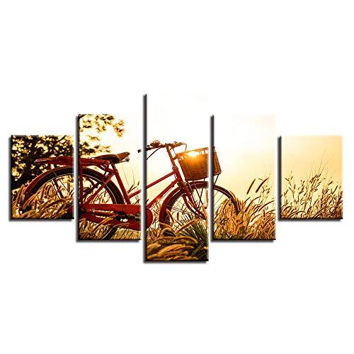 HXZFF Halloween Modern Bilder Fahrrad Sonnenuntergang 150x80 cm 5 Teilig Leinwandbilder Bild auf Leinwand Vlies Wandbild Kunstdruck Wanddeko Wand Wohnzimmer Wanddekoration Deko Kein Rahmen