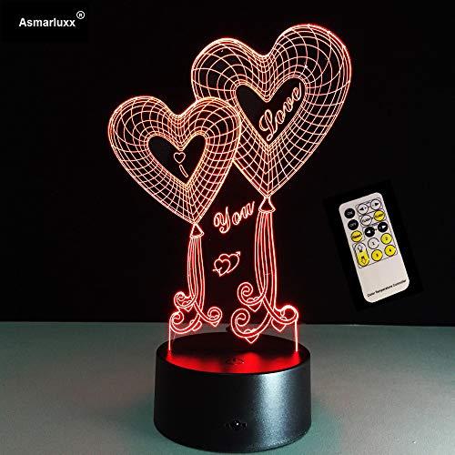 BFMBCHDJ Day Gift Shop 4 Liebes Beste Angebote Für Liebes 3D Herz LED Nachtlicht Mit 3D leuchtender Touch Fernbedienung Tischlampe