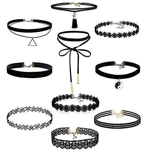 -loveso-damen-schmuck-10-piece-set-stretch-velvet-classic-gothic-tattoo-lace-choker-choker-necklace-