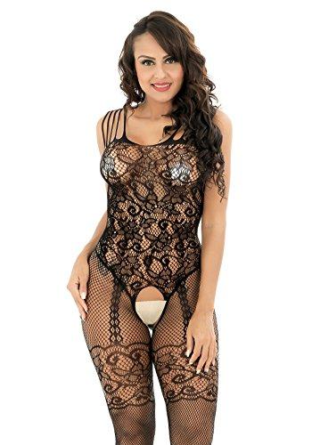 ThreeH Fischnetz Bodystockings Crotchless Bodysuit Unterwäsche Babydoll für Frauen S2391
