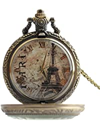 lekima reloj de bolsillo Gousset collar colgante retro romántico Elégant Tour Eiffel–Número Romanos cuarzo aleación Fantasía hombre mujer regalo