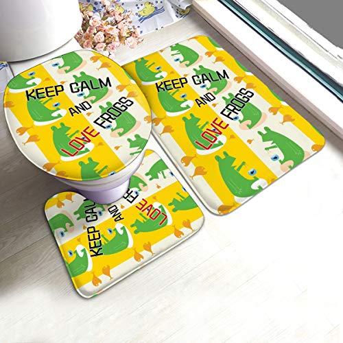 Toilettensitzabdeckung 3pcs Set Badezimmer Mat Antiskid Pad Krone behalten Sie Ruhe und Liebe Frösche Cowboys Cat 50 * 80cm -