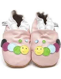 Chaussons Bébé en cuir doux - Chenille Rose - 18/24 mois