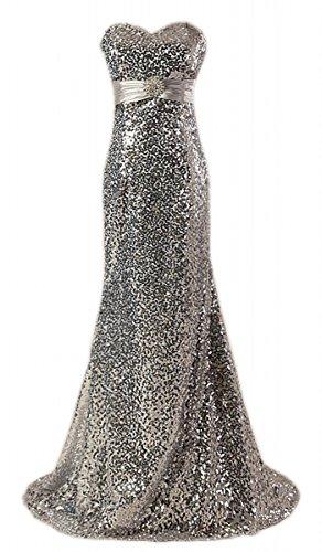 Fanciest Damen 2016 Sequin Abendkleider Ballkleid Meerjungfrau Partykleid Silver