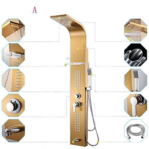 Brausegarnitur aus Edelstahl Duschpaneel Multifunktions-Duschwand Dusche stellte fünf Steuer , tyrant gold classic