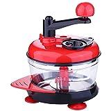 SODIAL Procesador de alimentos manual multifuncional Maquina de picar carne Cortador Triturador Picadora de huevo Cortador de verduras frutas de cocina de alta capacidad Artilugio de cocina (Rojo)