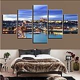 Gwgdjk Pinturas Sobre Lienzo Wall Art Framework 5 Piezas Castillo De Praga Bridge Poster Hd Prints Ciudad Escena Nocturna Fotos Salón Decoración-30X40/60/80Cm,Without Frame