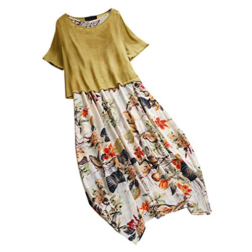 Ziyou Damen Vintage Print Patchwork Oansatz Plus Size Kleid Sommerkleid midi Bodycon Mantel Kleid Boatneck ärmelloses Vintage teekleid gürtel Frauen (Gelb,XL) -
