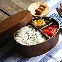 Japanese Style Wooden Bento Lunch Box Food Fruit Sushi Bento Box Bowl Reusable Picnic Lunch Carrier Container for Adults Kids Work School Use