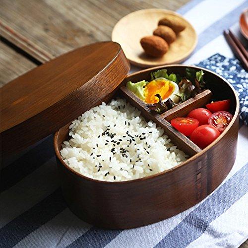 Holz-Bento-Box, Sushi-Box im japanischen Stil, wiederverwendbar, für Picknick und Lunch Bento Sushi Box