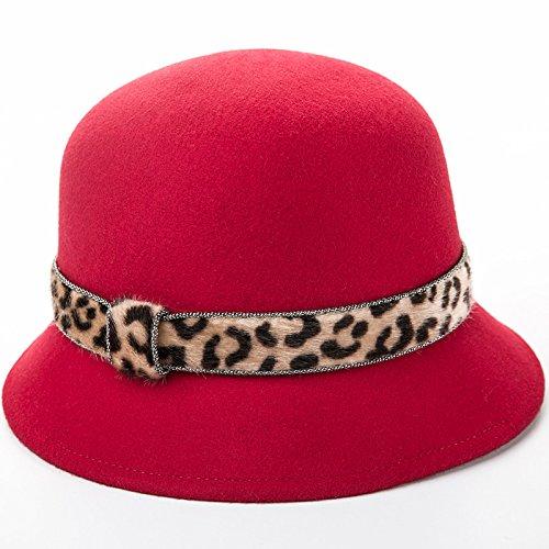 KYXXLD Weibliche Wolle Winter Hut Dome Becken hat Mode alle-Match Wolle Hut große Rote