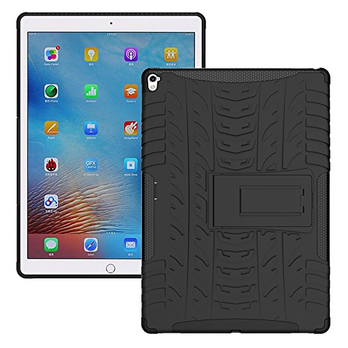 TGK Hybrid Tough Rubber Armor Defender Shockproof with Stand Hard Cover for Apple iPad Pro 2 9.7 inch 2016 Released A1673, A1674, A1675  Black