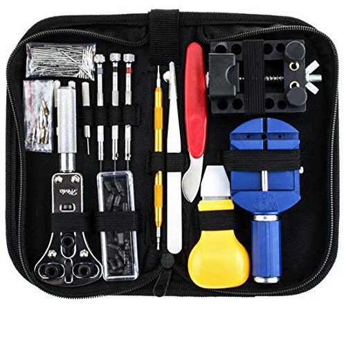 kiss me Uhrenwerkzeug Set 147tlg Uhrmacherwerkzeug Uhr Werkzeug Tasche Reparatur Watch Tools in schwarze Nylontasche