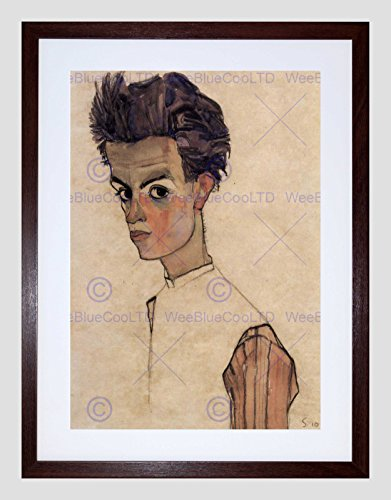 EGON SCHIELE SELF PORTRAIT OLD MASTER BLACK FRAMED ART PRINT PICTURE B12X2793 (Portrait Egon Self Schiele)