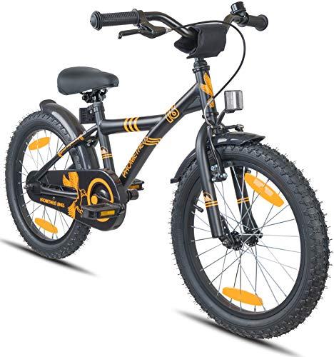 """Prometheus Bicicletta per bambini e bambine dai 6 anni nei colori Nero Opaco e Arancione da 18 pollici con freno a V in alluminio e contropedale - BMX da 18"""" modello 2019"""