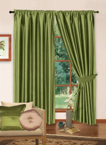66″ x 54″ Lime Green Faux Silk Curtains Lined With Complete Set of Matching Tiebacks