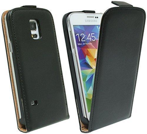 ENERGMiX Handytasche Flip Style kompatibel mit Samsung Galaxy S5 Mini G800F in Schwarz Klapptasche Hülle