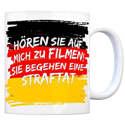 trendaffe - Kaffeebecher mit Hutbürger Motiv und Spruch: Hören Sie auf Mich zu Filmen! Sie begehen eine Straftat!