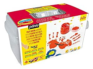 Pébéo 633701 Tacticolor Textile Coffret Atelier Gouache aux Doigts 10 Pots de 40 ml