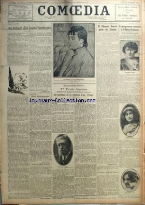 COMOEDIA [No 5023] du 30/09/1926 - PROPOS DE RENTREE-AU RETOUR DES JOURS LUMINEUX PAR GONZAGUE TRUC - ENTRE NOUS-POUR SHAKESPEARE PAR GABRIEL BOISSY - UNE LETTRE DE GABRIELE D'ANNUNZIO - POUR UN ORDRE DES ARCHITECTES-M. FRANTZ JOURDAIN PRESIDENT DU GROUPE DES ARCHITECTES MODERNES EST PARTISAN DE LA CREATION D'UN ORDRE PAR JEAN PIERRE LIAUSU - AUTOUR DU CONGRES CINEMATOGRAPHIQUE-M. EDOUARD HERRIOT PARLE DU CINEMA PAR EDOUARD HERRIOT - LES CONGRES DES DROITS D'AUTEUR - LA SAISON 1926-1927-LE PROG