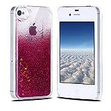 Funda iPhone 4, Carcasa iPhone 4S, RosyHeart Sparkle Brillar Líquido Lentejuelas Funda para iPhone 4/4S - Ultrafina Dura PC Transparent Anti-arañazos Protectiva Caso - Rosa caliente