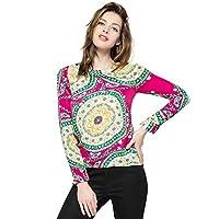 Ladylike Round Neck Floral Print Long Sleeve Women's Chiffon Shirt