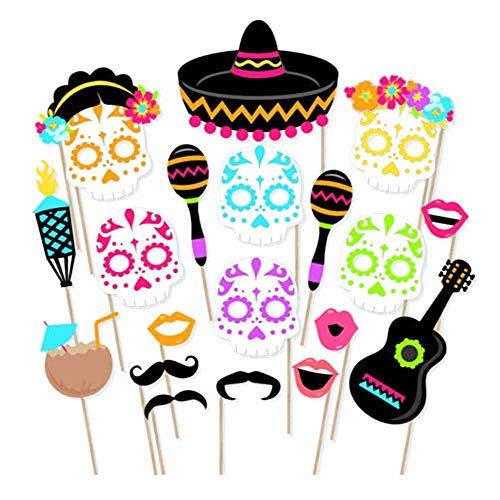 Leegoal Fan-Mexikanischen Thema Kultur Sugar Skull Day of The Dead Photo Booth Requisiten Souvenirs Party Supplies Vintage Dekoration