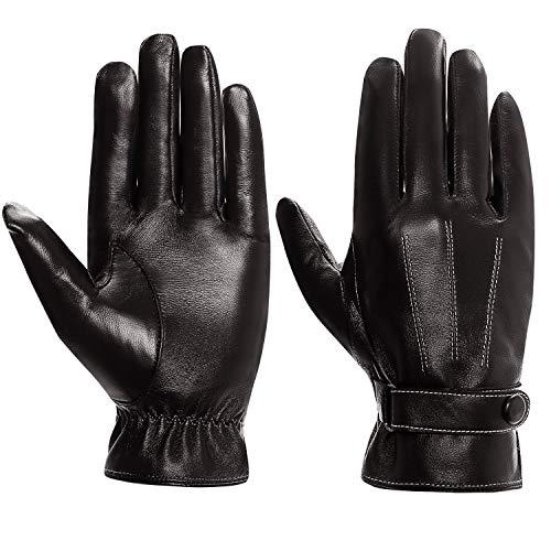 Cassiecy Handschuhe Herren Winter Touchscreen Lederhandschuhe Warme Gefüttert Motorradhandschuhe (Braun,L)