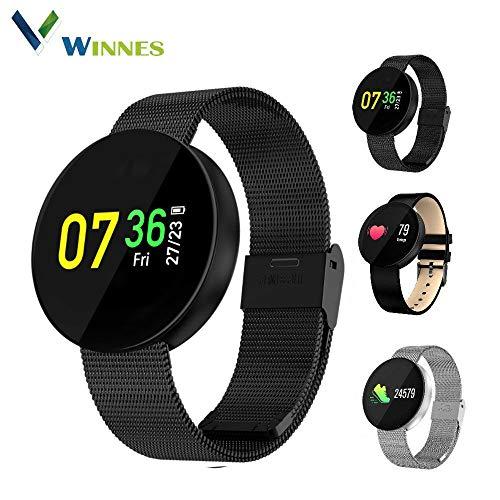 SmartWatch 0.96 OLED Touch Screen Armband Sport Fitness Activity Tracker Wasserdicht Uhr Smartphone Herzfrequenzmesser Blood Pressure Uhr Support Andriod iOS Ideal Für Jogging Running (S-Stahl)